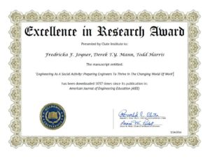 Certificate for Excellence in Research